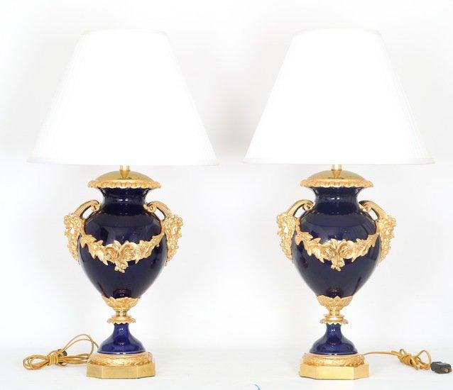 Neoclassical sevres style cobalt blue porcelain lamps gilt bronze accent sergio jaeger treniq 1 1520652622553