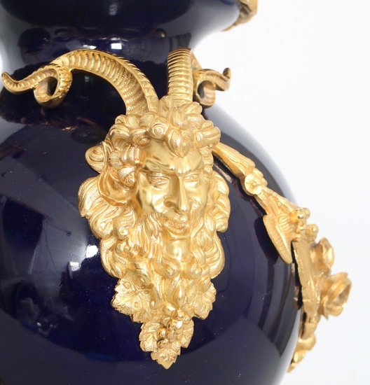 Neoclassical sevres style cobalt blue porcelain lamps gilt bronze accent sergio jaeger treniq 1 1520652622556