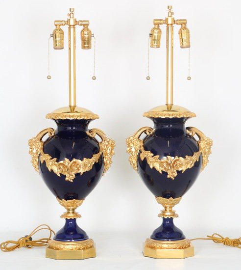 Neoclassical sevres style cobalt blue porcelain lamps gilt bronze accent sergio jaeger treniq 1 1520652622554
