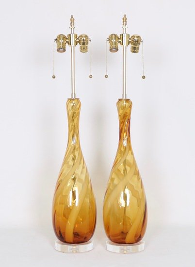 Seguso murano glass lamps in amber and white sergio jaeger treniq 1 1520917098539