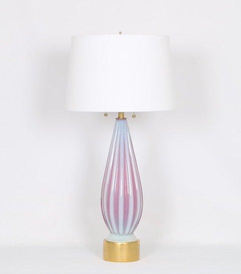Barovier murano glass table lamp in opaline and pink sergio jaeger treniq 1 1521002011721