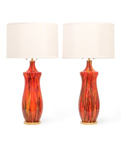 Midcentury-Lustre-Glazed-Table-Lamps-In-Orange_Sergio-Jaeger_Treniq_0