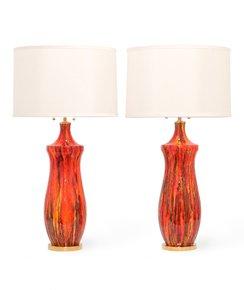 Midcentury-Lustre-Glazed-Table-Lamps-In-Orange_Sergio-Jaeger_Treniq_0