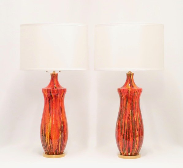 Midcentury lustre glazed table lamps in orange sergio jaeger treniq 1 1521005134310