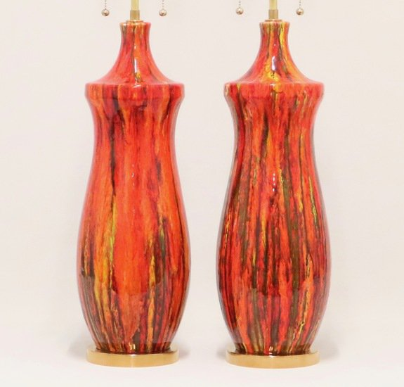 Midcentury lustre glazed table lamps in orange sergio jaeger treniq 1 1521005134312