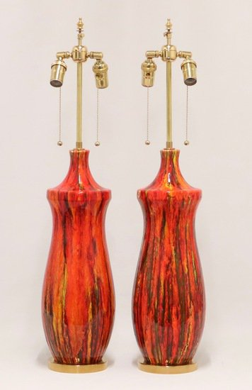 Midcentury lustre glazed table lamps in orange sergio jaeger treniq 1 1521005134311