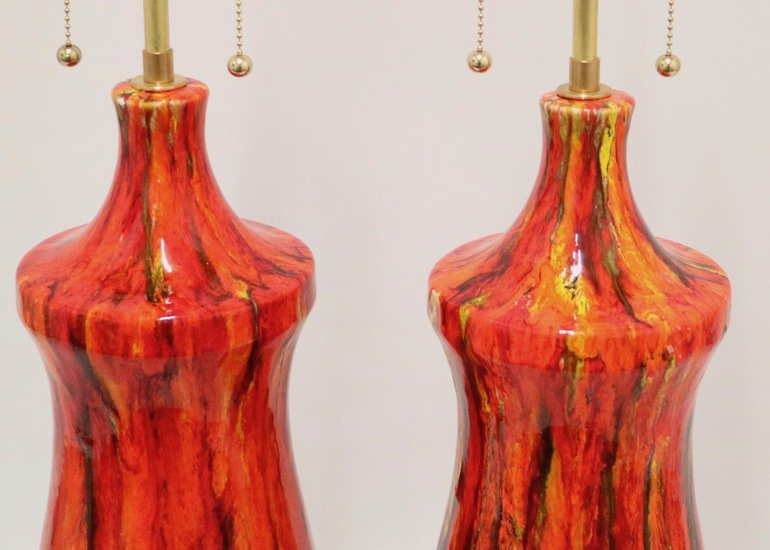 Midcentury lustre glazed table lamps in orange sergio jaeger treniq 1 1521005237724