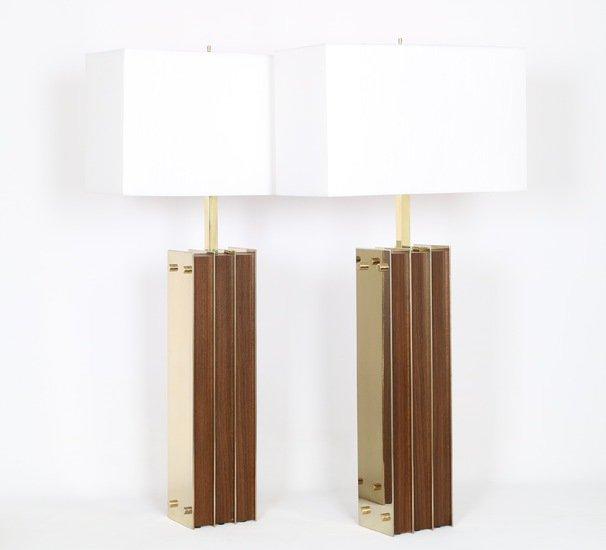 Restored mid century modern pair of lamps in brass and wood sergio jaeger treniq 1 1521006150204