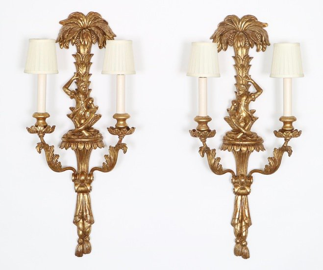 Pair of mid century italian hollywood regency gilded monkey sconces sergio jaeger treniq 1 1521049512203