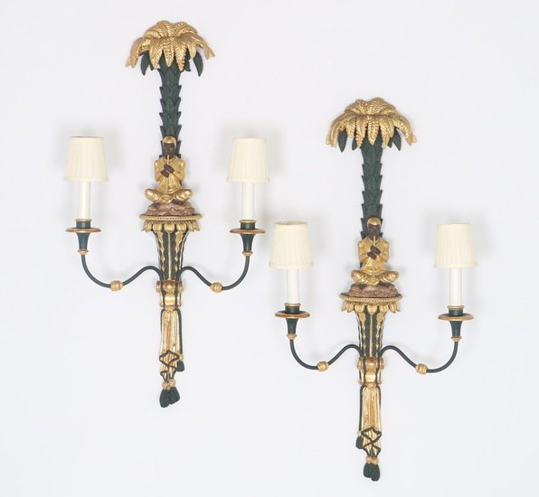 Hollywood regency blackamoor sconces in green and gold sergio jaeger treniq 1 1521049938812