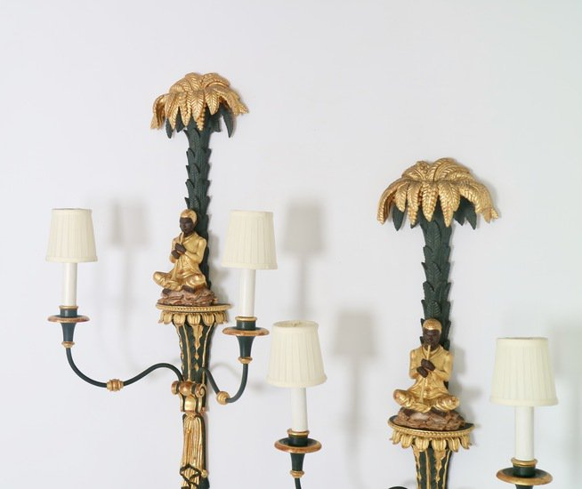 Hollywood regency blackamoor sconces in green and gold sergio jaeger treniq 1 1521049965671