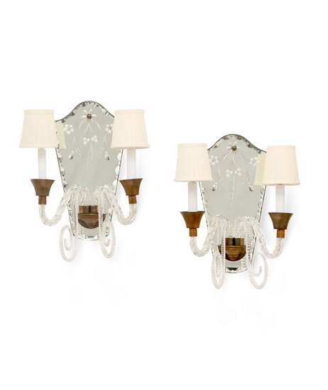 Hollywood regency murano glass sconces with etched mirrors and brass accent sergio jaeger treniq 1 1521050369917