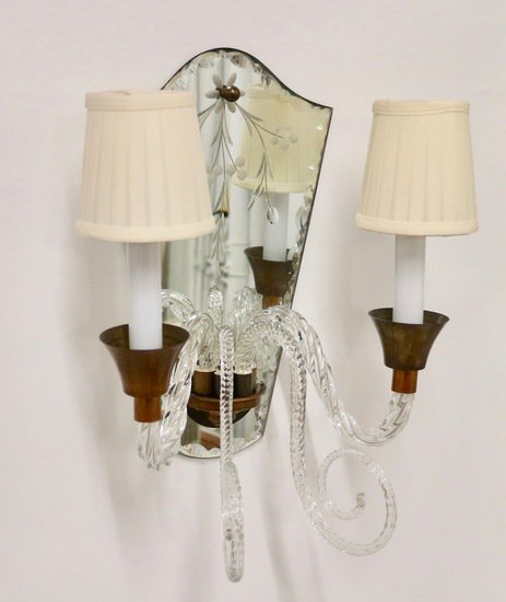 Hollywood regency murano glass sconces with etched mirrors and brass accent sergio jaeger treniq 1 1521050485205