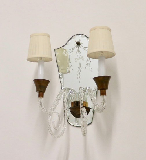 Hollywood regency murano glass sconces with etched mirrors and brass accent sergio jaeger treniq 1 1521050498990