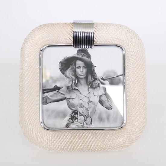 Venini %e2%80%98torciglione%e2%80%99 murano glass gold flakes photo frame with nickel accen sergio jaeger treniq 1 1521136820694