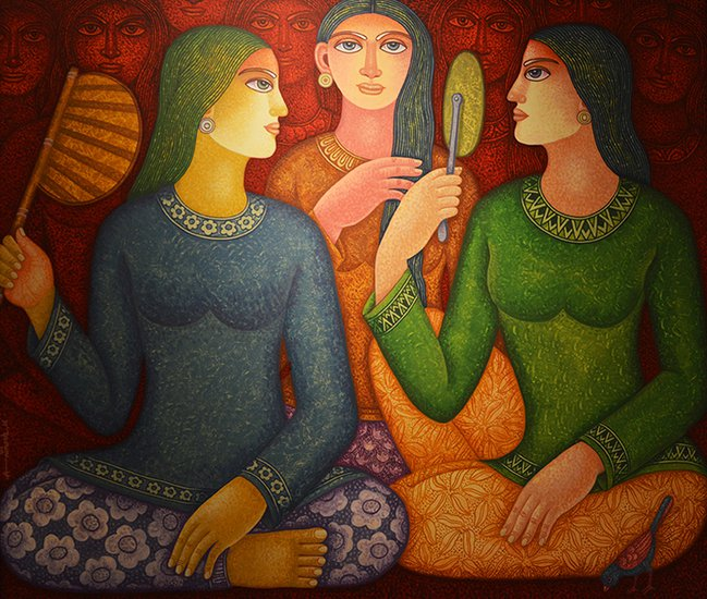 34x42 acrylic on canvas   rendezvous ii  animesh biswas %c2%a31 500