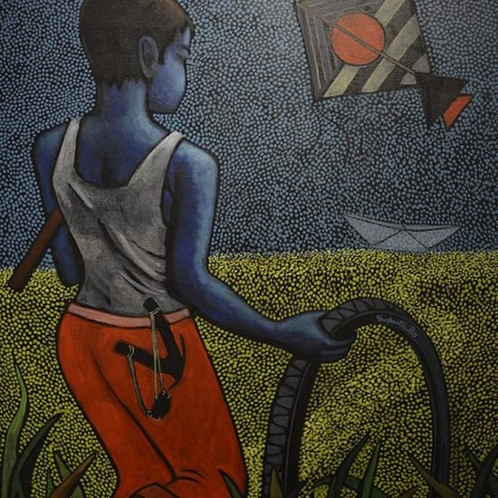 36x30 inches acrylic on canvas  childhood sushanta roy %c2%a31250