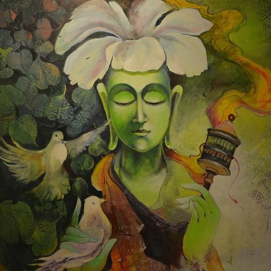 36x36 inches   acrylic on canvas  peace i malay dutta   %c2%a3650