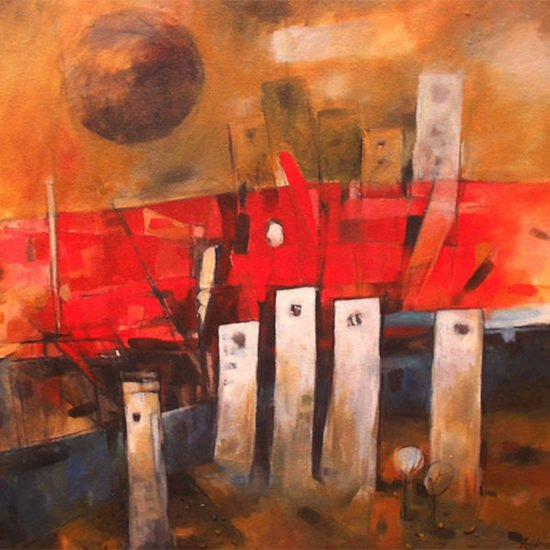 600x600 acrylic on canvas  the red bridge  nripen nath %c2%a31 250