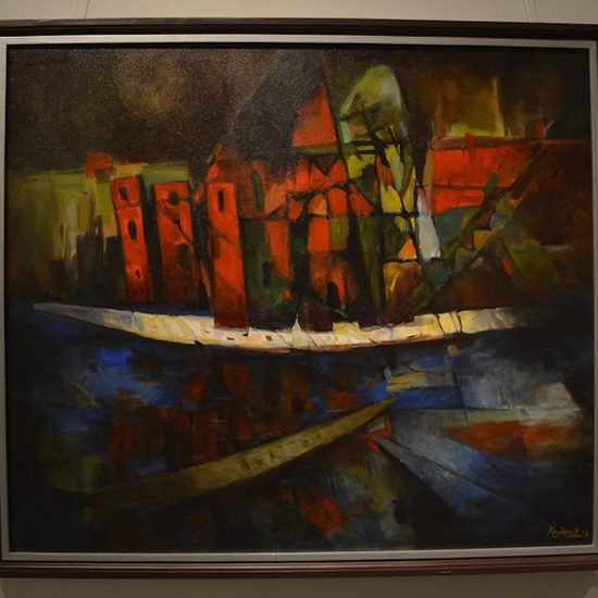 600x600 acrylic on canvas  the house boat  nripen nath %c2%a31 250