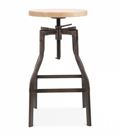 55a61a7c037d Adjustable Industrial Swivel Stool Wood Top Industrial by Cielshop ...