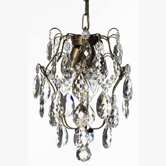 Ampel chandelier with crystals in dark brass gustavian style treniq 1 1522487739514