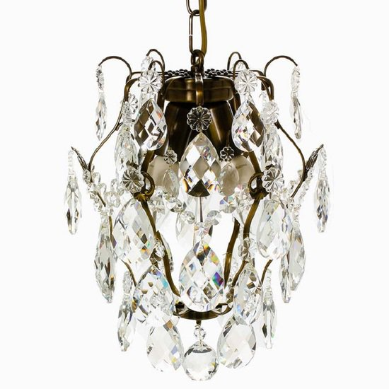 Ampel chandelier with crystals in dark brass gustavian style treniq 1 1522487739524