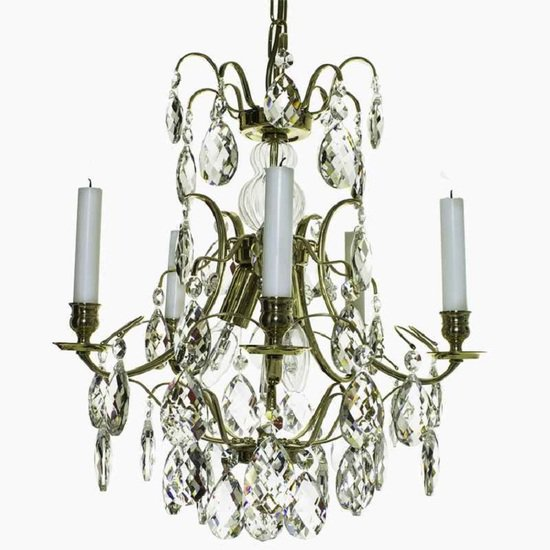 5 arm crystal chandelier in polished coloured brass multi colour