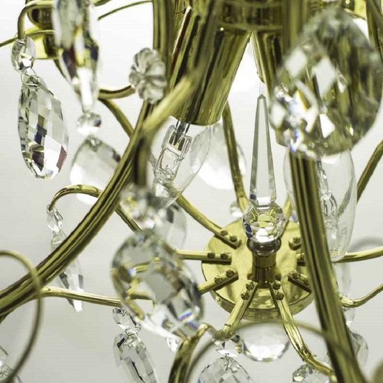 5 arm crystal chandelier in polished coloured brass gustavian style treniq 1 1522488007566