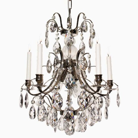5 arm crystal chandelier in nickel plate gustavian style treniq 1 1522488311996