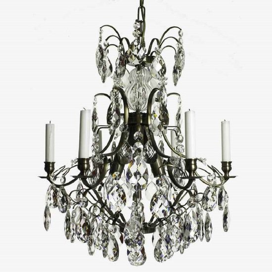 6 arm crystal chandelier in dark coloured brass gustavian style treniq 1 1522519370310