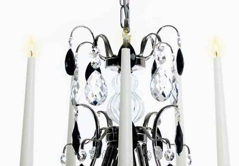 5 arm crystal chandelier in nickel plate with black crystals gustavian style treniq 1 1522519491450