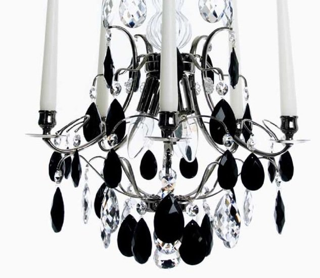 5 arm crystal chandelier in nickel plate with black crystals gustavian style treniq 1 1522519491440