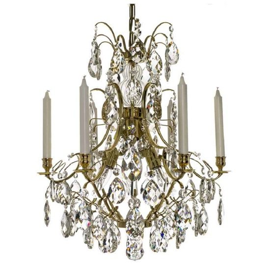 6 arm crystal chandelier in polished coloured brass gustavian style treniq 1 1522519613582