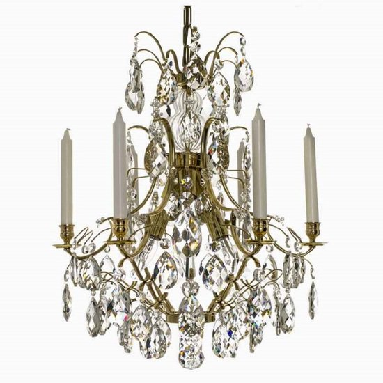 6 arm crystal chandelier in polished coloured brass gustavian style treniq 1 1522519613586