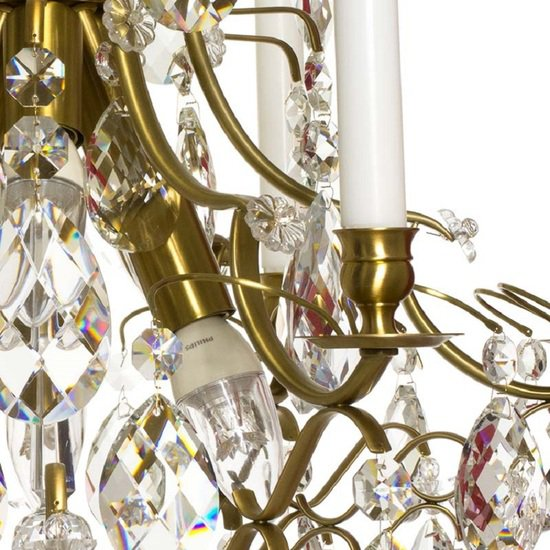6 arm crystal chandelier in amber coloured brass gustavian style treniq 1 1522519831826