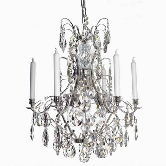6 arm crystal chandelier in nickel plated brass gustavian style treniq 1 1522519983700