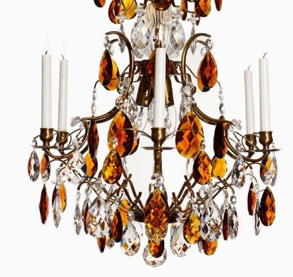 6 arm crystal chandelier in amber coloured brass with amber coloured crystals gustavian style treniq 1 1522522228238