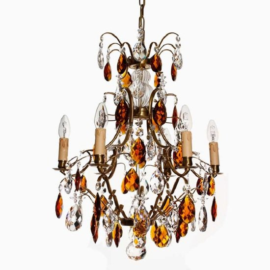 6 arm electric candle crystal chandelier in amber coloured brass with amber crystals gustavian style treniq 1 1522522498330