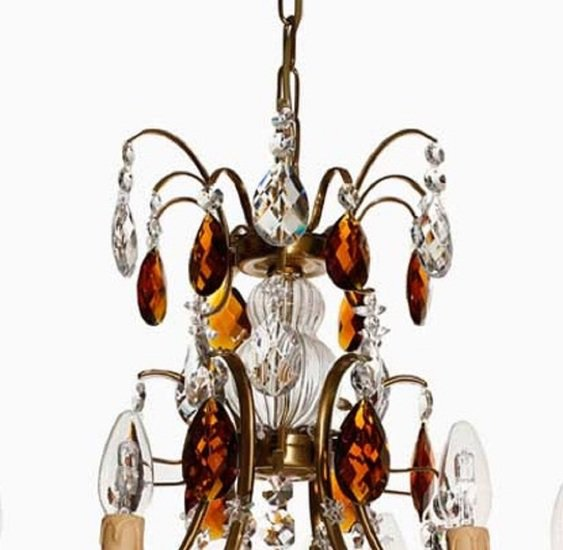 6 arm electric candle crystal chandelier in amber coloured brass with amber crystals gustavian style treniq 1 1522522498344