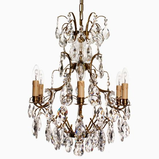 6 arm electric candle crystal chandelier in amber coloured brass gustavian style treniq 1 1522522615322