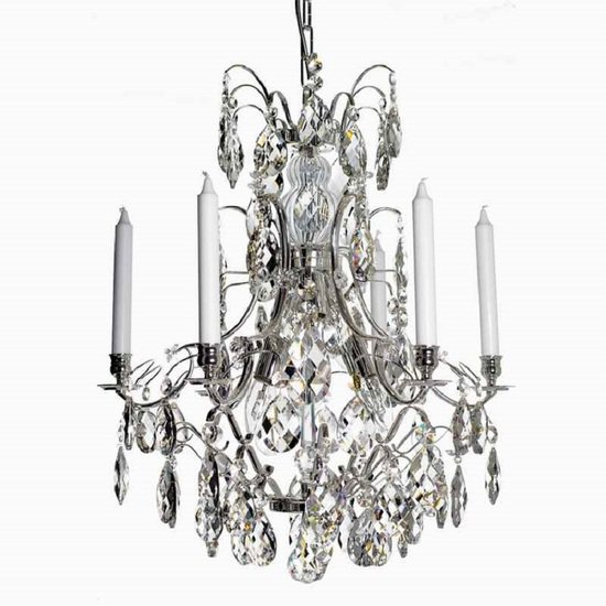 6 arm silver crystal chandelier in silver plated brass gustavian style treniq 1 1522522735230