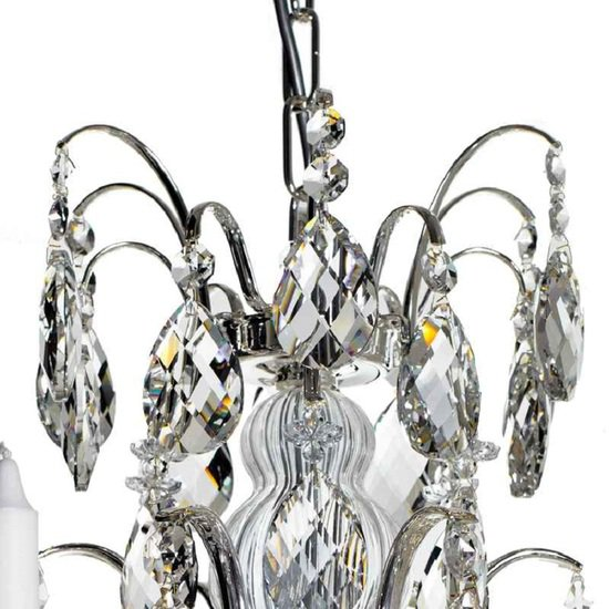 6 arm silver crystal chandelier in silver plated brass gustavian style treniq 1 1522522735246