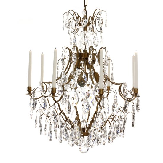 8 arm crystal chandelier in amber coloured brass gustavian style treniq 1 1522528101860