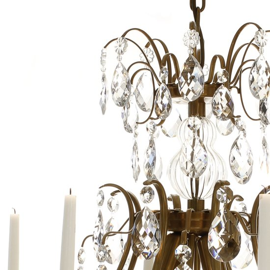8 arm crystal chandelier in amber coloured brass gustavian style treniq 1 1522528101876