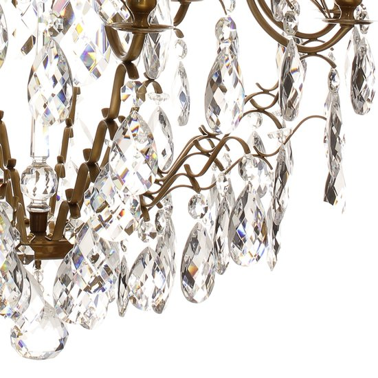 8 arm crystal chandelier in amber coloured brass gustavian style treniq 1 1522528101864