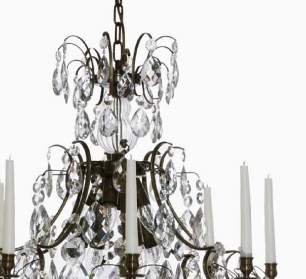 8 arm crystal chandelier in dark coloured brass gustavian style treniq 1 1522528200364