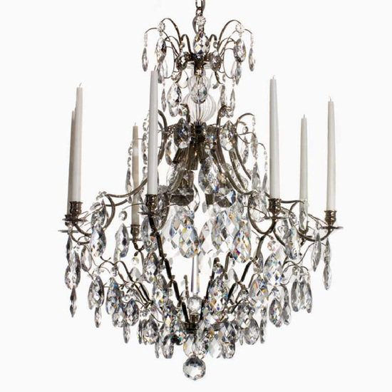 8 arm crystal chandelier in nickel plated brass gustavian style treniq 1 1522528298392