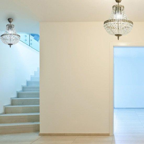Empire crystal chandelier in dark brass gustavian style treniq 1 1522528470496