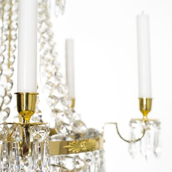 Empire crystal chandelier in polished brass with bottom of crystal drops gustavian style treniq 1 1522528576150
